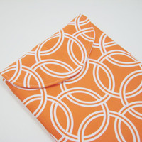 Orange iPad Case, iPad Sleeve, iPad Cover, Padded with Flap, in Mod Orange and White Print, Ready to Ship