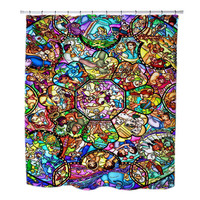 All Disney Heroes Stained Glass custom Shower Curtains