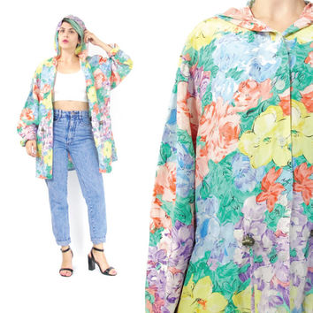 90s Floral Silk Jacket Washable Silk Jacket Hooded Jacket Watercolor Pastel Silk Jacket Slouchy Lightweight Jacket Girly Silk Hoodie (M/L)