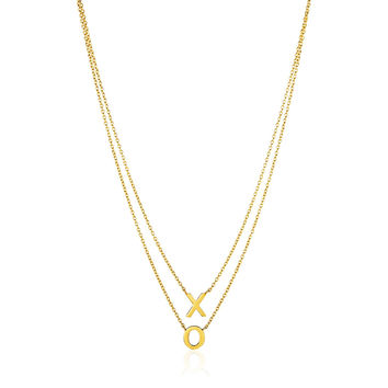 XO Pendants on Double Strand Necklace in 14k Yellow Gold