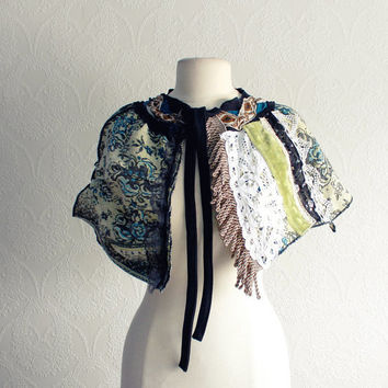 Shabby Chic Tapestry Capelet Green Blue Victorian Cape Floral Shawl Vintage Style Wrap Lace Fringe Upcycled Clothing 'TESS'
