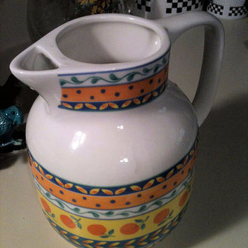 Furio- Portugal Pottery Home Pitcher Furio- FU08-84OZ Beautiful Gaily Decorated Vintage Design