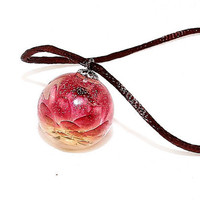 Flower pendant, Flower jewelry, burgundy, red, yellow and clear, round, resin ball pendant Flower, spring or summer