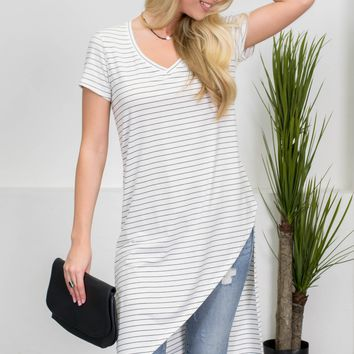 Lily Striped Asymmetrical Tunic