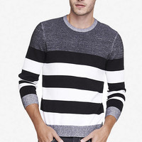 PLAITED STRIPED CREW NECK SWEATER from EXPRESS