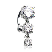 Brilliant Sparkle Cascading Gem Reverse Belly Button Ring (Clear)