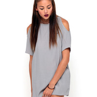 Motel Savannah Cold Shoulder Dress in Silver Grey