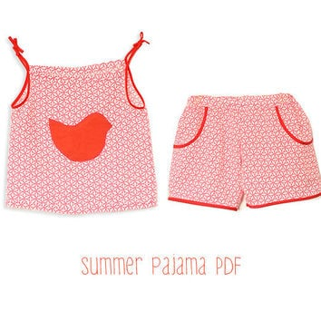 Toddlers pyjama pattern pdf - girls summer pajama shorts and top tutorial - 6mths to 6 years