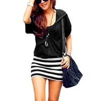 Allegra K Women Short Sleeve Zip Front Stripe Hooded Mini Dress