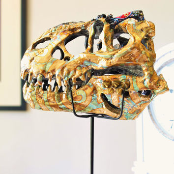 T rex Faux Taxidermy Fossil Sculpture