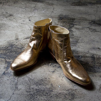 golden beatle boots   FREE SHIPPING by goodbyefolk on Etsy