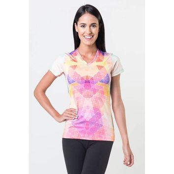 *Pastel Kaleidoscope - Power V Neck Tee
