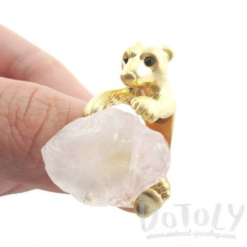 3D Polar Bear and Quartz Iceberg Shaped Animal Wrap Ring in Gold | Handmade