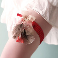 Bridal garter Red silk & Ostrich feathers OOAK by Jye, Hand-made in France