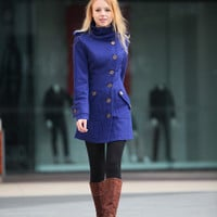 Royal Blue Wool Coat Fitted Military Jacket Cashmere Coat Women Coat Winter Coat  - Custom - NC260