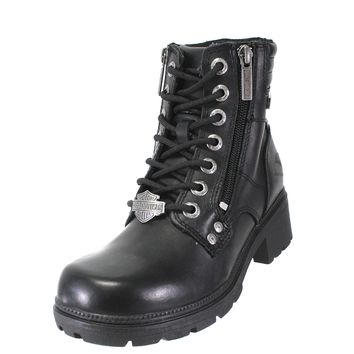 Harley-Davidson® Womens Inman Mills Black Leather Low Cut Boot - D83877