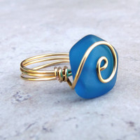Teal Blue Sea Glass Ring:  24K Gold Wire Wrapped Peacock Blue Beach Jewelry, Size 7