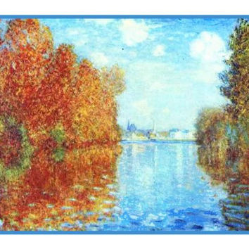 Autumn in Argenteuil France inspired by Claude Monet's impressionist painting Counted Cross Stitch or Counted Needlepoint Pattern