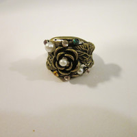 Chunky Vintage Bronzed Ring with Rhinestones and Pearls