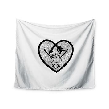 "BarmalisiRTB ""Heart Arrow"" Black White Wall Tapestry"