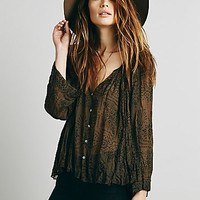 Free People Womens FP ONE Bandana Print Swing Buttondown
