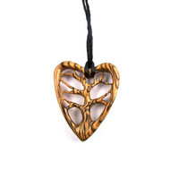 Wood Pendant Necklace, Wooden Heart Pendant, Tree of Life Pendant, Wood Jewelry, Tree of Life Necklace, Tree Pendant, Wood Carved Pendant
