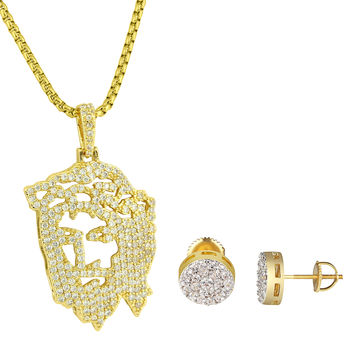 "Ghost Jesus 14k Gold Plated Pendant Earrings Studs 9mm 24"" Free Chain Hip Hop"