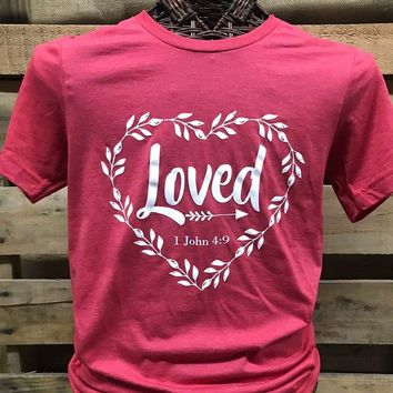 Southern Chics Apparel Loved Heart Arrow Canvas T Shirt