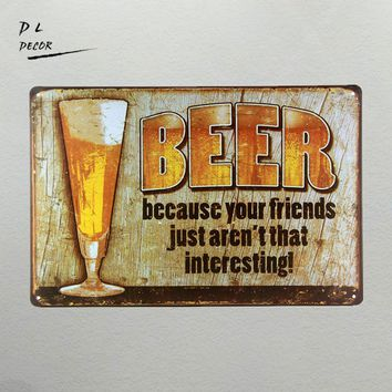 DL-BEER FRIENDS METAL TIN SIGN Vintage Wall Pub Bar Metal Decor man cave