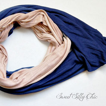 Blue and Beige Hand Dyed Scarf, Long Lightweight Scarf in Dark Blue and Tan, Dip Dyed Scarf