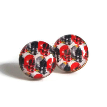 Resin Stud Earring - FREE shipping to USA resin skull studs post earrings skull pattern wood