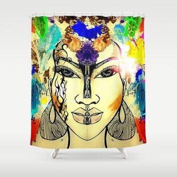 Autumn Rainbow Shower Curtain by violajohnsonriley