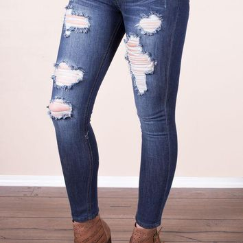DCCKGE8 Medium Distressed Skinnies - Machine Jeans