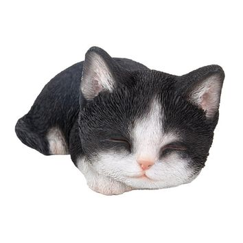 Realistic Bicolor Black and White Cat Kitten Sleeping Collectible Figurine Amazing Detailed Glass Eyes Hand Painted Resin Life Size 7 inch Figurine Perfect for Cat Lover Collectible