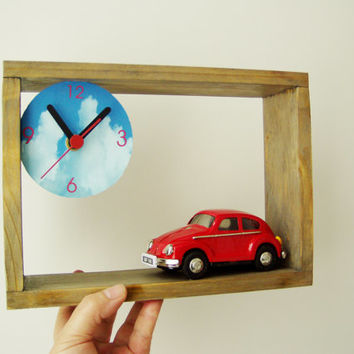 Wooden clock with Fiat car miniature, wooden frame for desk or wall with clock dial and collectible, toy Fiat car