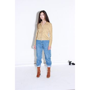Perforated Faux Suede Tan Blouse / Cut Out Pattern / Small