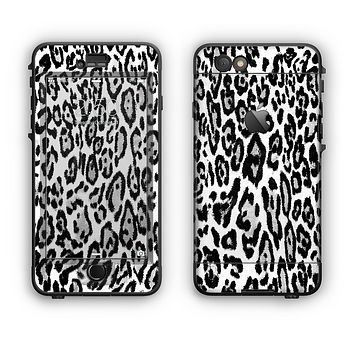 The Black and White Snow Leopard Pattern Apple iPhone 6 Plus LifeProof Nuud Case Skin Set