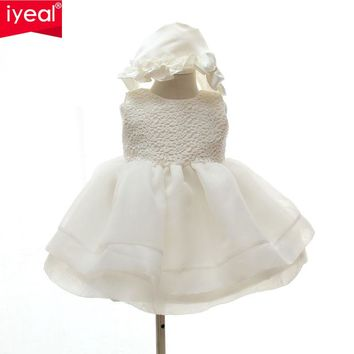 IYEAL Baby Girls Elegant Communion Dresses NEW 2016 Child Sleeveless Princess White Party Wedding dress Christening Gown