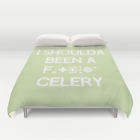 I shoulda been a celery Duvet Cover by Ia Po