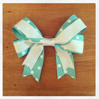 Teal & White Polka Dot Hair Bow - September is Ovarian Cancer Awareness Month!