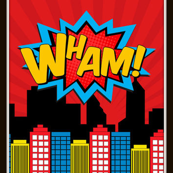 Superhero Prints - Boys Room Wall Art, 8x10- Wall Prints, Boys Room, Playroom, Childrens Room, Super Hero City, Pop Art, Comic Book