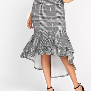 Plaid Tiered Ruffle Dip Hem Skirt