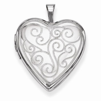 Sterling Silver 20mm Swirl Design Heart Locket