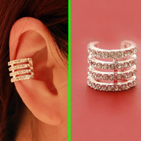 Full Rhinestone Rings Ear Cuff (Single, No Piercing)