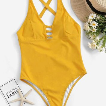 Criss Cross Low Back One Piece Swimsuit