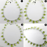 Natural Peridot Twisted Pear Shape Briolette Beads 8.5 Inch Long