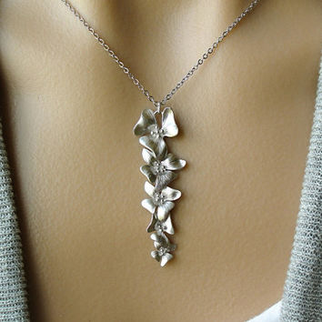 Silver Flower Cascade Necklace - gift,  Christmas, mother, sister, wife, daughter, bridesmaid, wedding,  friend, birthday, romantic