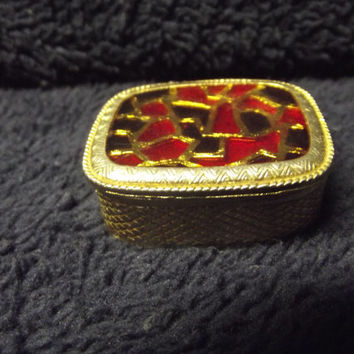 Vintage Hinged Inlaid Pill Box - Purse Sized - Gold Colored Metal