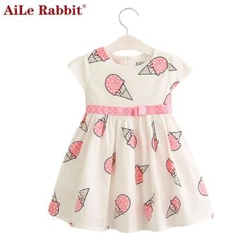 AiLe Rabbit Sweet Girls Ice Cream Printed Kids Dress for Girl 2017 Cute Girls Spring New Children Princess Clothes Dress