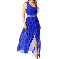 Raelynn- Royal Blue Mesh Single Shoulder Dress